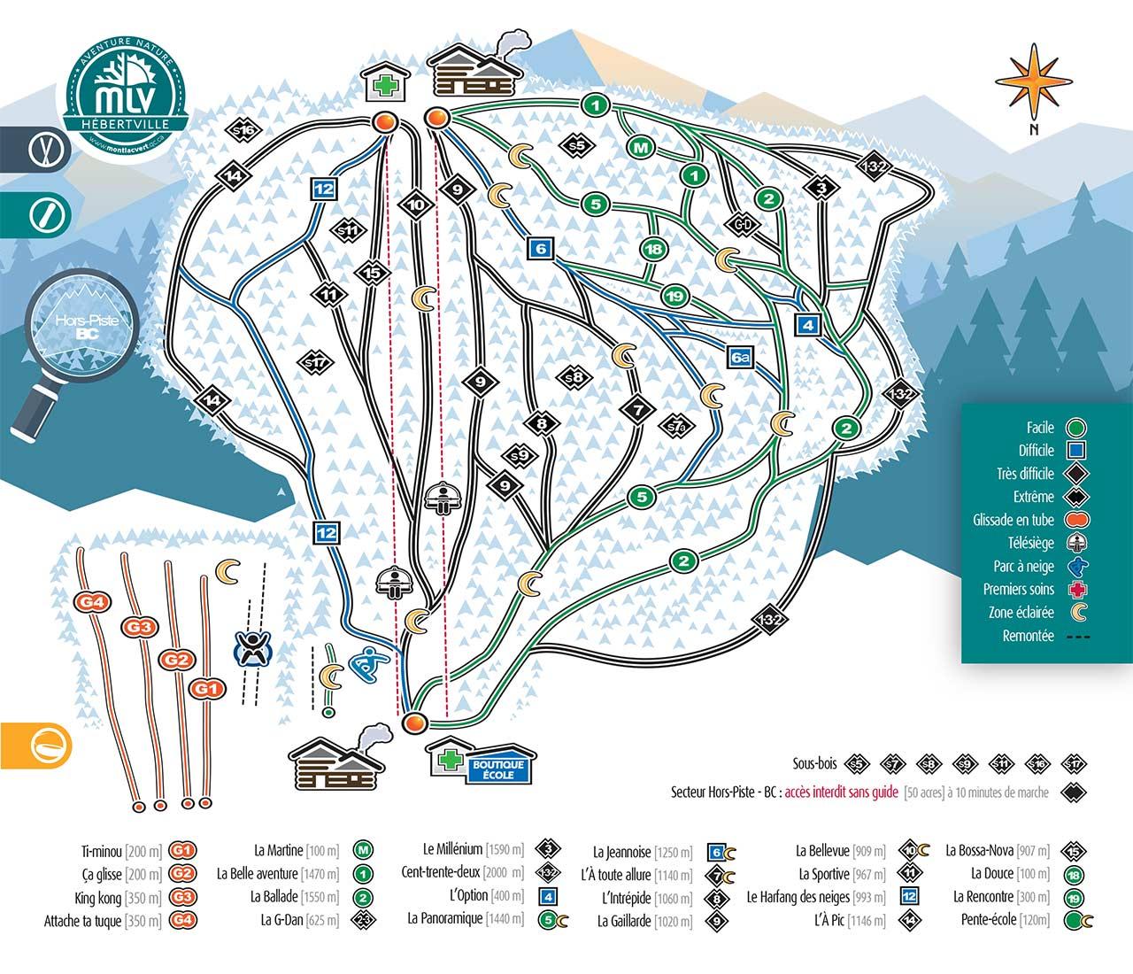 carte plan site mont lac-vert 2019